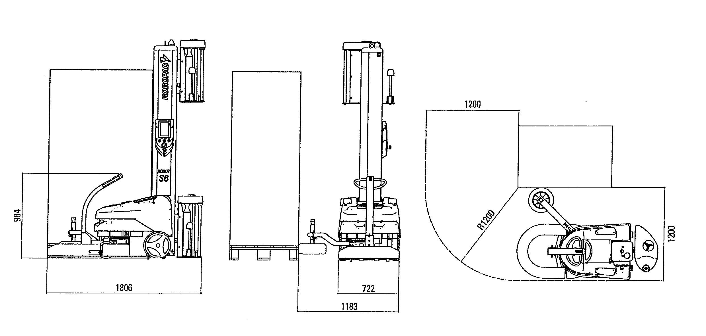 ROBOT-FILMEUR-PREETIRAGE-S6-PDS encombrement et dimensions