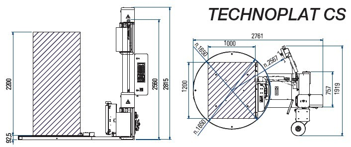 banderoleuse AUTOMATIQUE TECHNOPLAT 507 PDS CS dimensions et encombrement