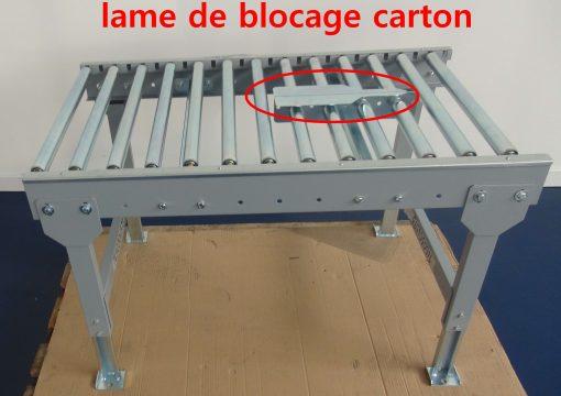 CONVOYEURS ROULEAUX GALETS extensible sur mesure avec butée d'arrêt avec lame de blocage carton