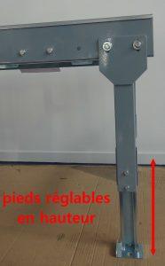 CONVOYEURS ROULEAUX GALETS pieds réglables en hauteur