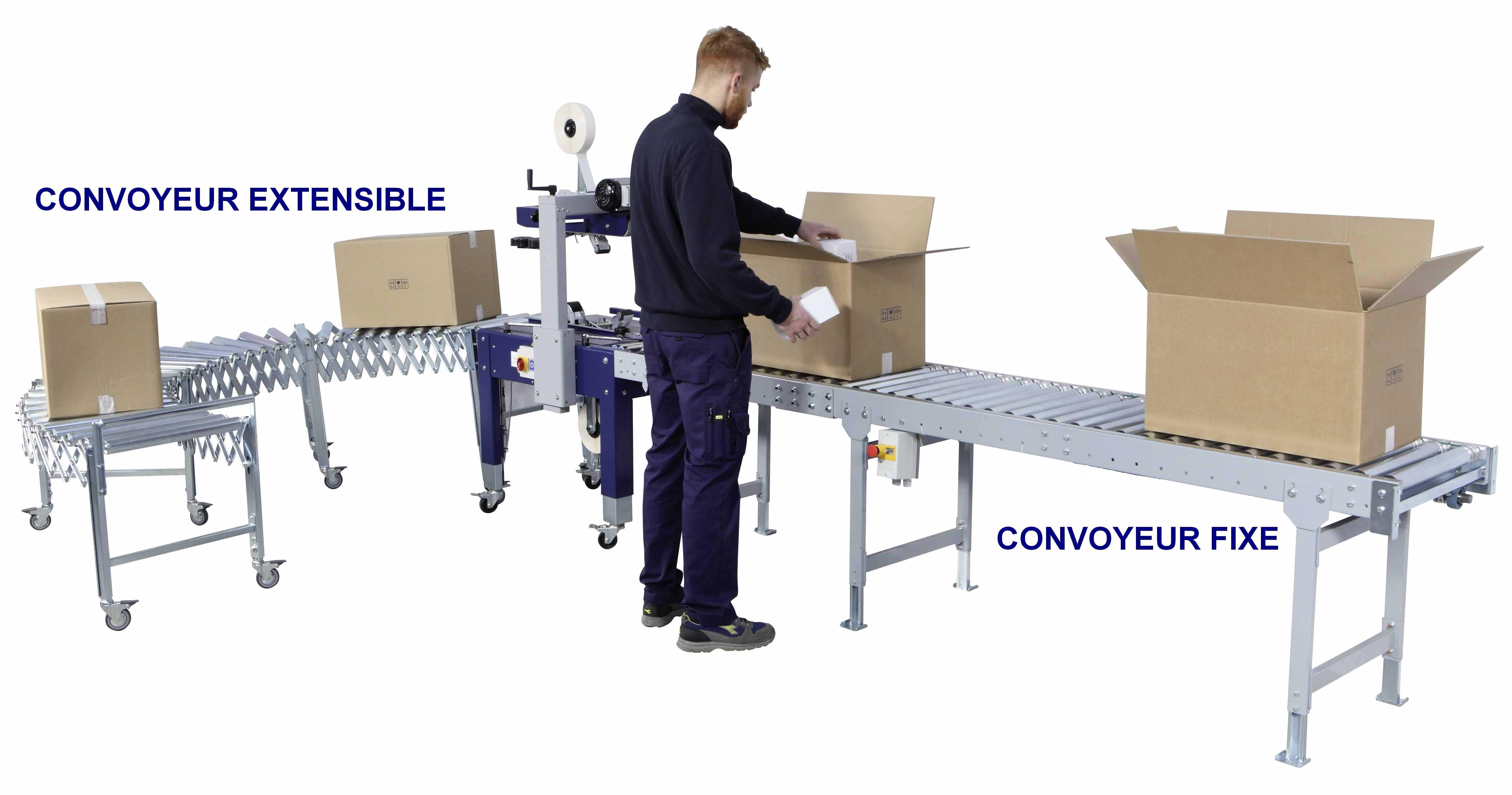 ligne emballage avec convoyeur fixe rouleaux acier et extensible