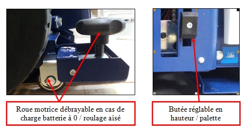 ROBOT MASTER cric roue motrice débrayable + butée réglable hauteur légende