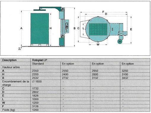 FILMEUSE PALETTE 708 PVS LP cotes et encombrement plateau réduit en hauteur