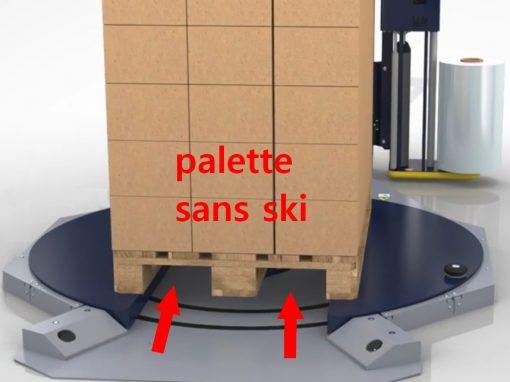 banderoleuse plateau tournant évidé ROTOPLAT TP3 utilisation de palette sans ski