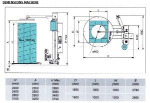 Filmeuse automatique TECHNOPLAT série 8 encombrement et dimensions