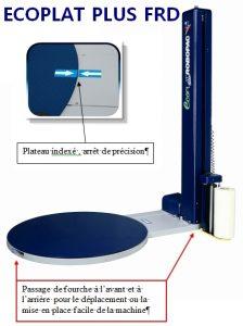 BANDEROLEUSE ECOPLAT PLUS FRD déplaçable par l'avant et l'arrière de la machine + table indexée