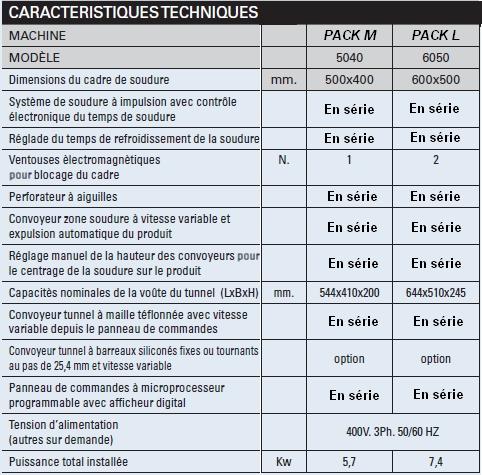 SOUDEUSE EN L MANUELLE PACK M caractéristiques techniques