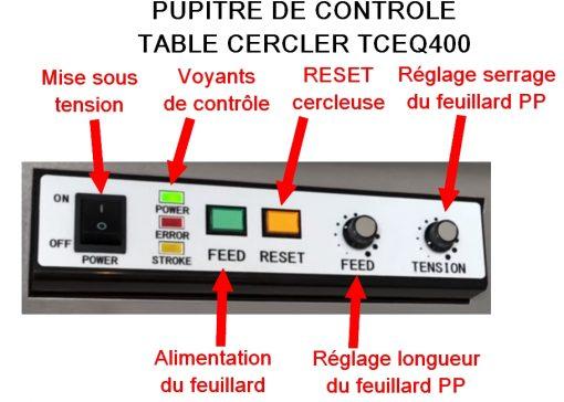 TABLE DE CERCLAGE ELECTRONIQUE pupitre de commande