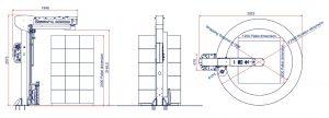 BANDEROLEUSE BRAS TOURNANT ECOWRAP XL + encombrement dimensions